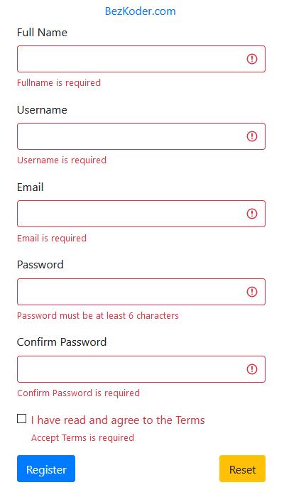 react-form-validation-example-formik-yup